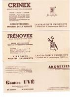Buvard LOT 4 - Publicité CRINEX FRENOVEX Gouttes UVE UVESTEROL Remplace Huile De Foie De Morue - Chemist's