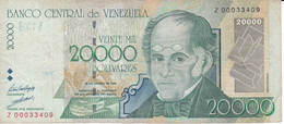 REPLACEMENT SERIE Z - BILLETE DE VENEZUELA DE 20000 BOLIVARES DEL AÑO 1998  (BANK NOTE) - Venezuela