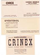 Buvard LOT 2 - Publicité UVESTEROL + Feuillet OREX CRINEX - Chemist's