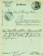 "Dillenburg Lahn 1905 "" Friedr.Mayer Zigarrenfabrik "" Frankierter Bedarf Geschäfts- Postkarte > Rittershausen Barmen - Dillenburg"