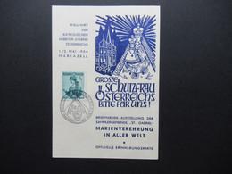 Österreich 1954 Sonder PK Wallfahrt Der Katholischen Arbeiter Jugend Österreichs Briefmarken Ausstellung St. Gabriel - 1945-60 Brieven