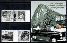 Gibraltar 2004 Mi# 1078-1081, Block 59 ** MNH - Visit Of Queen Elizabeth II To Gibraltar, 50th Anniv. - Gibilterra