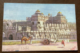 INDIA - AGRA - DELHI GATE FORT  - POST CARD (olette)FROM  FORT SAINT GEORGE 11/4/13  TO FLORENCE - Monde