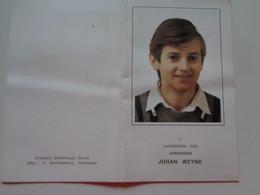 Doodsprentje/Bidprentje JOHAN WEYNE  Roeselare 1959-1987   (Zn Julien & Agnes VANDAMME) - Religion & Esotérisme