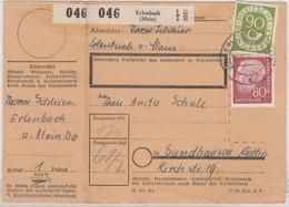 BRD - 90+80 Pfg. Posthorn/Heuss, Paketkarte Erlenbach - Sundhausen 1954 - Lettres