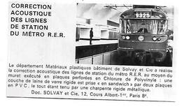 PUB 1970 SOLVAY Acoustique Bruit Métro RER Cours Albert 1er PARIS 8ème - Reclame