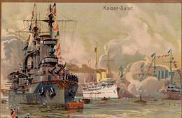 Kaiser-Salut. 1909. Hoehl Kaiserblume. Champagne Hoehl. Sektkellerei Geisenheim. (HMS Kaiser Wilhelm). - Werbepostkarten