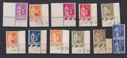 11 Timbres Type Paix   Avec  8 Coin Datés   Avec Le N° 287   1 F 25 Olive  Coin Daté 1932 Gomme Altéré - 1932-39 Frieden