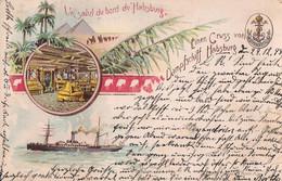 """Un Salut Du Bord Du """"Habsburg"""". Einen Gruss Von Dampfschiff Habsburg. 1898. - Paquebote"""