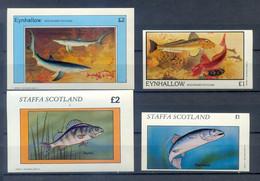 EYNHALLOW + STAFFA  LOT 2+ 2  BLOCKS  FISH MNH - Pesci