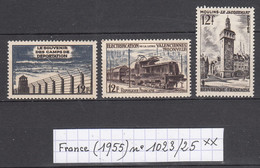 France (1955) Camps De Déportation N°1023+ Electrification Valenciennes-Thionville N° 1024+ Moulins N°1025 Neufs ** - Neufs
