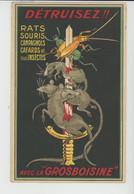 PUBLICITÉ - Jolie Carte PUB 2 Volets Pour LA GROSBOISINE Détruisant Rats Souris.... Avec Carte De Correspondance 192... - Werbepostkarten