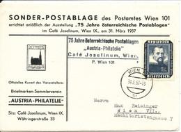 Austria Special Cover Austria Philatelie Sonder Postablage Wien 31-3-1957 - 1945-60 Brieven
