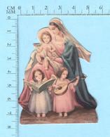 Image Pieuse Religieuse,  Image De Bureau, Embossée, Marie Jesus Et Des Anges Musiciens - Religion & Esotérisme