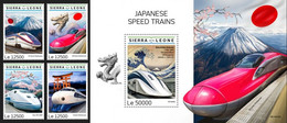 Sierra Leone 2019, Japanese Speed Trains, Vulcans, 4val In BF +BF - Volcanos