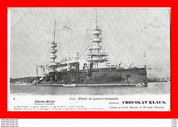 """CPA BATEAUX. Marine Militaire.  Cuirassé à Tourelles  """"CHARLES-MARTEL"""" Editeur: Chocolat Klaus...S2124 - Guerra"""