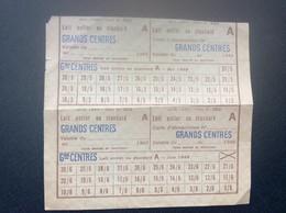 @ CARTE D'ALIMENTATION  Lait Entier Ou Standard  GRANDS CENTRES  Paris ANNEE1949 - Bons & Nécessité