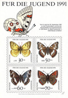 Germany Postcard 1991 Für Die Jugend Butterfly Stamps Mint (DD25-50) - Stamps On Stamps