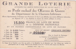 CPA GRANDE LOTERIE 1917 AU PROFIT OEUVRES DE GUERRE SEMAINE CHARENTE INFERIEURE - ANTI ALLEMAND - Weltkrieg 1914-18