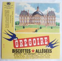 BUVARD BISCOTTES Allegees Gregoire - CHATEAU DE VAUX LE VICOMTE  (SEINE ET MARNE) - Zwieback