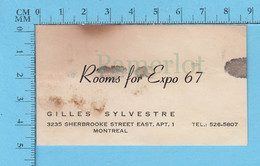 Expo67 Carte D'affaire - Chambre A Louer, Rooms For Expo 67, On Sherbrooke Street, Busines Card - Unclassified