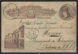 RZ-/-035B- CP  MONTEVIDEO (URUGUAY 1904) OBL. Via MONACO, VOIR IMAGES POUR DETAILS, IMAGE DU VERSO SUR DEMANDE - Usati