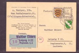 Alliierte Besetzung Franz. Zone Singen Hohentwiel Nach Leipzig 1946 - Zone Française