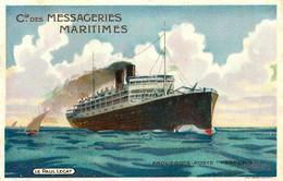 Le PAUL LECAT * Cie Des Messageries Maritimes * Paquebot Poste Français * CPA Illustrateur + Pub Au Dos - Paquebote