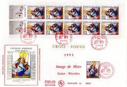 """"""" CROIX-ROUGE 1993  / SAINT-NICOLAS """" Sur Enveloppe 1er Jour Grand Format N°tée. Avec Carnet Du N° YT 2853 Parf état FDC - Rotes Kreuz"""