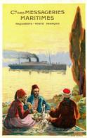 Turkey Turquie * Cie Des Messageries Maritimes * Paquebot Poste Français * CPA Illustrateur + Pub Au Dos - Paquebote