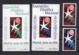 1958. SPAIN,IMPERF & PERF,MNH,BLOCK + SET,BRUXELLES INTERNATIONAL STAMP EXHIBITION 1958. - Blocchi & Foglietti