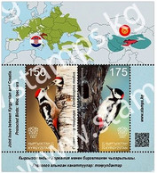 Kyrgyzstan 2021 SS MNH Joint Issue  Kyrgyzstan - Croatia. Protected Birds: Woodpeckers Bird Oiseaux. 3rd Quarter 2021 - Pics & Grimpeurs