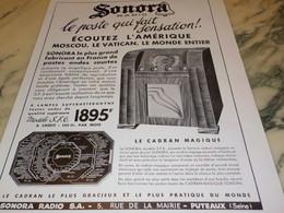 ANCIENNE PUBLICITE RADIO  SONORA 1936 - Altri