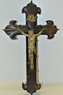 BELLE GRANDE CROIX BOIS FONCE CHRIST REGULE Argenté XIXe Fleurs De Lys Religion COLLECTION DECO RELIGION - Religion & Esotérisme