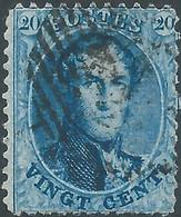 Belgio - Belgium - Belgique ,1863 -1865 King Leopold I -20C Blue Perf: 12½ X 13 Oblitéré - 1863-1864 Medallions (13/16)