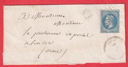 N°29 BELLE VARIETE TACHE BLANCHE SUR POS DE POSTES GC 1420 ESSAI ORNE POUR ALENCON CAD TYPE 22 - 1849-1876: Classic Period