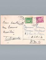 Sur Carte Postale De Sarlat - 24 - Pour Calais - 62 - Cérès De Mazelin 2 F Et 10 F Gandon - 28/09/1949 - - Covers & Documents