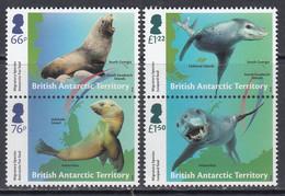 2018 British Antarctic Territory Seal Migration Marine Mammals  Complete Set Of 2 Pairs MNH @ Below Face Value - Unused Stamps
