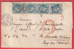 N°29 BANDE DE 4 PARIS ETOILE 3 PL DE LA MADELAINE  POUR LA NOUVELLE ORLEANS VIA NEW YORK USA POUR CONSUL ITALIE - 1849-1876: Classic Period