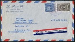 Costa Rica 1949 Air Mail Cover PAWA Label Franked 5c Salvador Lara + 75c Roosevelt Brief Lettre > Czechoslovakia - Costa Rica
