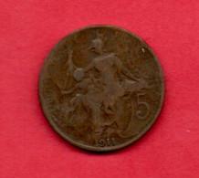 FRANCE, 1911 , 5 Centimes,  KM842, C3731 - C. 5 Centimes