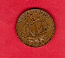 UK, 1965 ,  1/2P, QEII, Bronze,   KM896, C3730 - C. 1/2 Penny