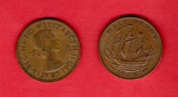 UK, 1966 ,  1/2P, QEII, Bronza,   KM896, C3728 - C. 1/2 Penny