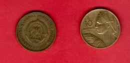 YUGOSLAVIA, 1955 , 2 Coins Of 10 Dinara, Aluminium Bronze, KM33, C3726 - Yugoslavia