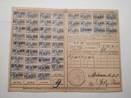 Carte De Quittance Avec Timbres Fiscaux Mulhouse 1875-1919  5pcs - Alsace-Lorraine