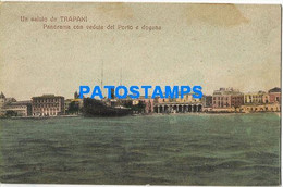166474 ITALY TRAPANI SICILIA VIEW PANORAMA OF PORT & CUSTOMS POSTAL POSTCARD - Unclassified