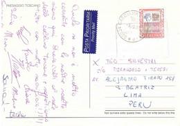 £1500 ALTI VALORI SU CARTOLINA TOSCANA X ESTERO PERU' - 1991-00: Storia Postale