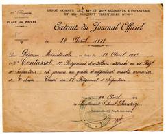 Décisions Militaires, CONTASSOT Claude, Maître Armurier : 11è R. D'Artillerie, 61è RI Privas, 49è RA, 9è R. De Zouaves. - Documentos