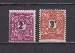 COTE D'IVOIRE 1927  TAXE N°17/18 NEUFS** SURCHARGE - Neufs