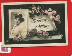 CPA 77 Seine Marne Meilleures Amitiés De Guignes Jolie Carte Postale Photo  Portrait Jeune Fille Roses - Other Municipalities